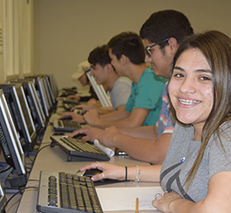 Students at work in the testing center
